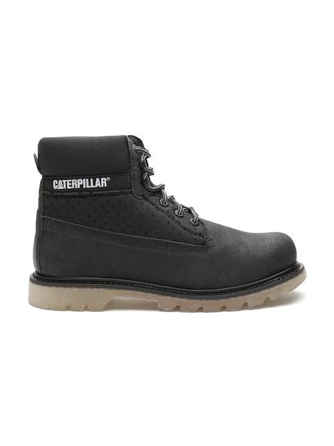 CAT Men Black Solid High-Top Flat Boots