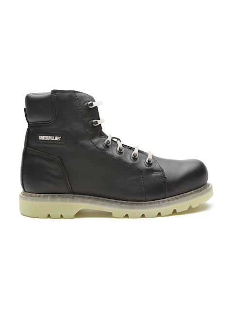 CAT Men Black Solid Leather High-Top Flat Boots