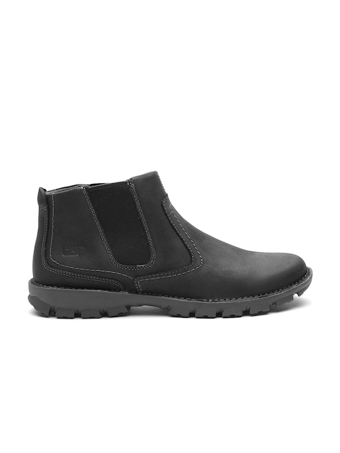 CAT Men Black Solid Leather Mid-Top Flat Boots