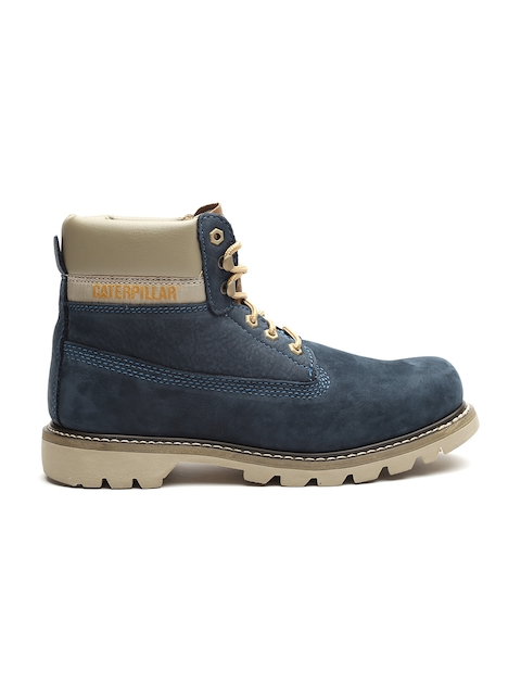 CAT Men Teal Blue Solid Suede High-Top Flat Boots