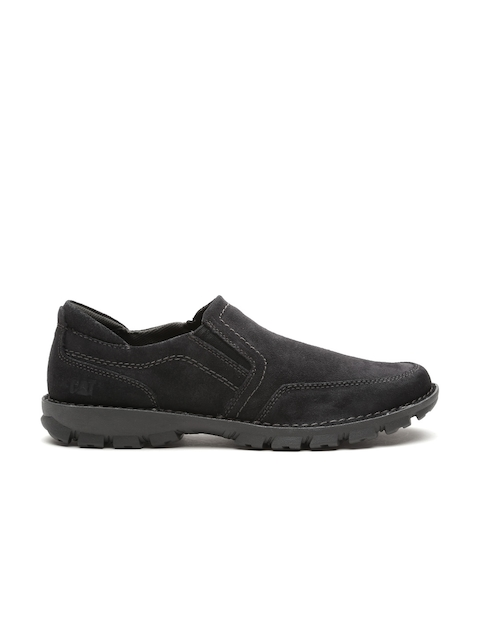 CAT Men Black Solid Slip-On Suede Sneakers