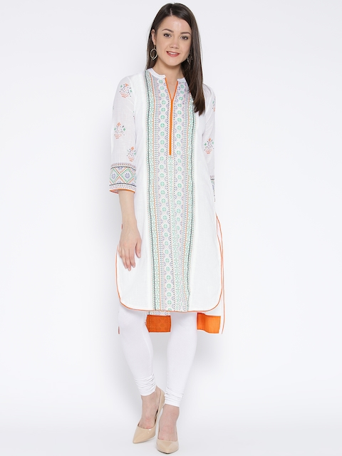 Rangriti Women White Printed Straight Kurta