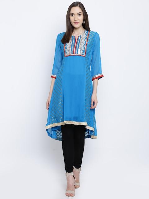 Rangriti Women Blue Woven Design A-Line Kurta