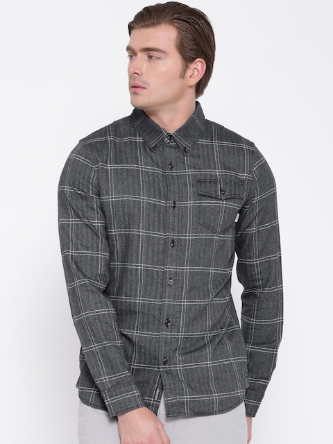 Vans Men Charcoal Grey Tailored Fit Checked Casual Shirt