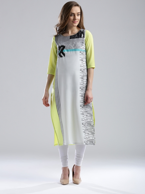W Women White & Lime Green Printed Straight Kurta