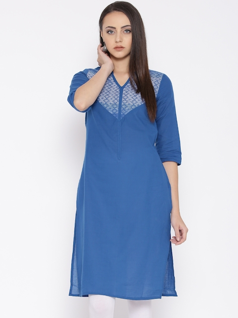 AURELIA Women Blue Yoke Design Straight Kurta  available at myntra for Rs.479