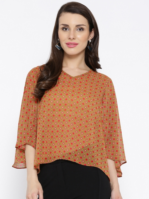 Global Desi Women Mustard Yellow & Red Printed Sheer Top