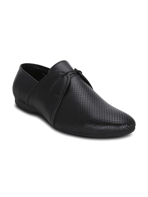 Kielz Men Black Perforated Semiformal Shoes