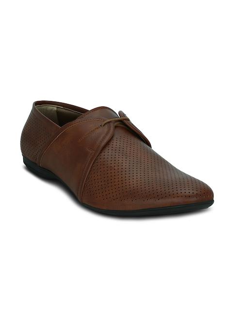Kielz Men Brown Perforated Semiformal Shoes