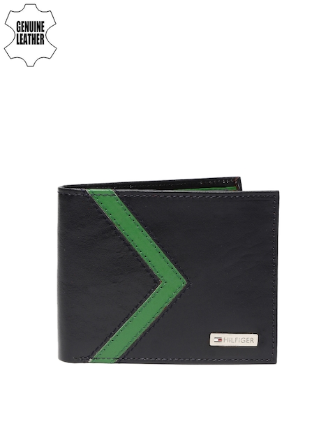 Tommy Hilfiger Men Navy & Green Colourblocked Genuine Leather Wallet