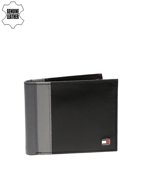 Tommy Hilfiger Men Black & Grey Colourblocked Genuine Leather Wallet