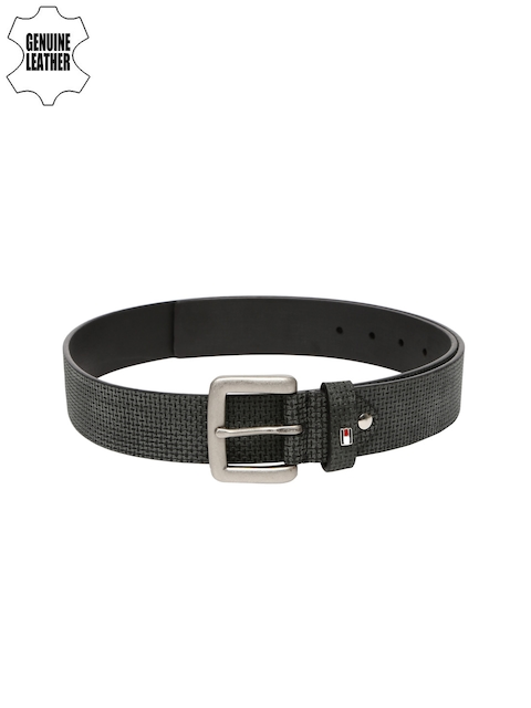 Tommy Hilfiger Men Grey Textured Genuine Leather Belt