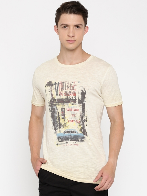 Jack & Jones Men Beige Printed Slim Fit Round Neck T-shirt