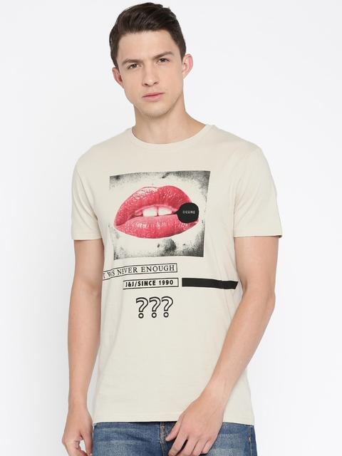 Jack & Jones Men Beige Printed Round Neck Slim T-shirt