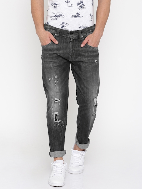 Jack & Jones Men Black High Rise Highly Distressed Stretchable Jeans