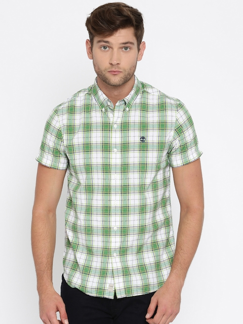 Timberland Men Green & White Slim Fit Checked Casual Shirt