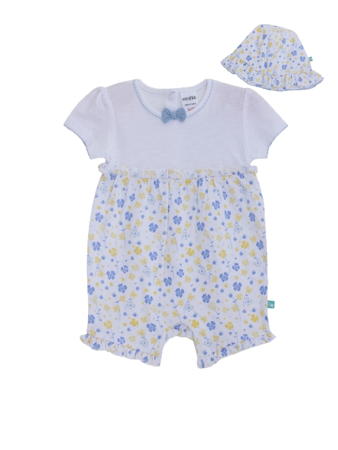 FS Mini Klub Infant Girls White & Blue Floral Print Rompers with Hat