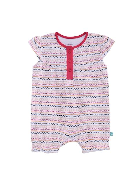 FS Mini Klub Infant Girls White & Red Printed Rompers