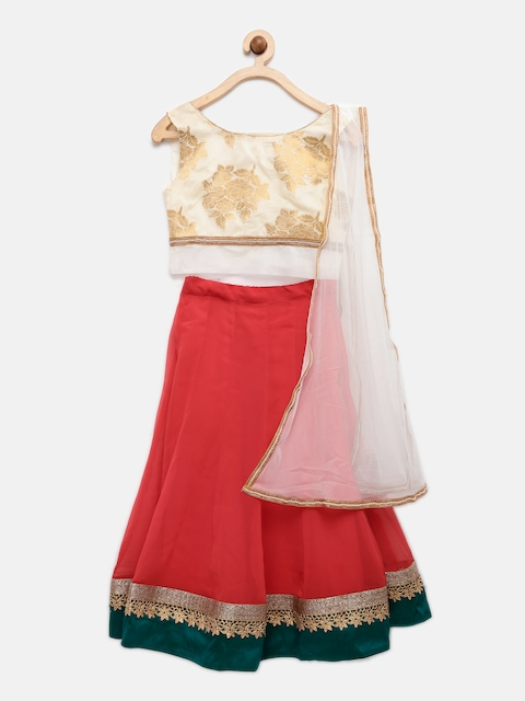K&U Off-White & Red Georgette & Net Lehenga Choli with Dupatta  available at myntra for Rs.1649