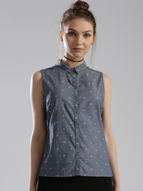 Levis Women Blue Printed Regular Fit Casual Shirt