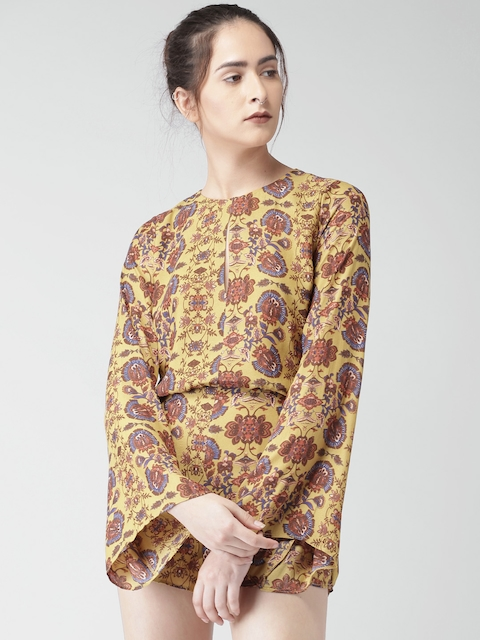 FOREVER 21 Mustard Printed Playsuit