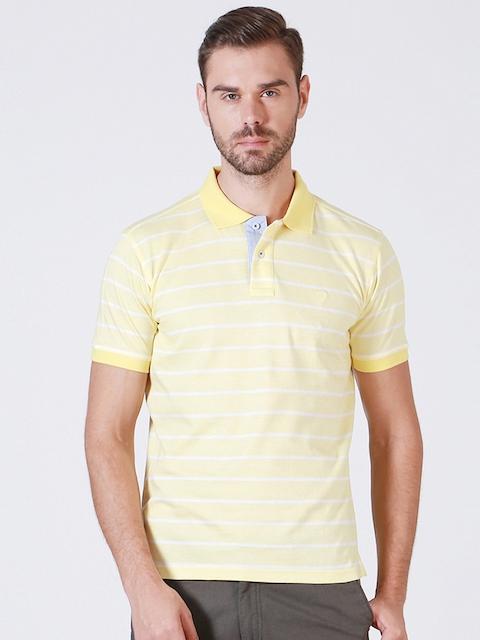 Allen Solly Men Yellow Striped Polo T-shirt