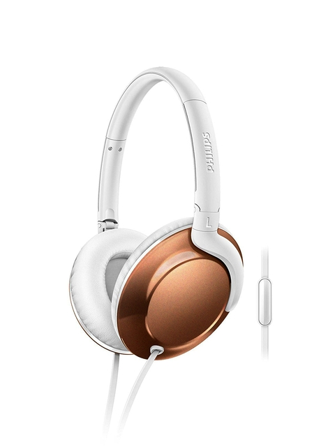 Philips White & Bronze-Toned Over-Ear Gravity Defying Headphones with Mic SHL4805RG