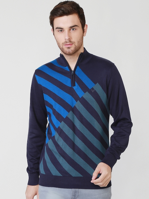 Allen Solly Men Navy Striped Sweater