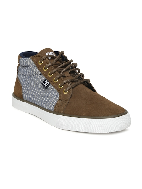 DC Men Brown Leather Mid-Top Sneakers