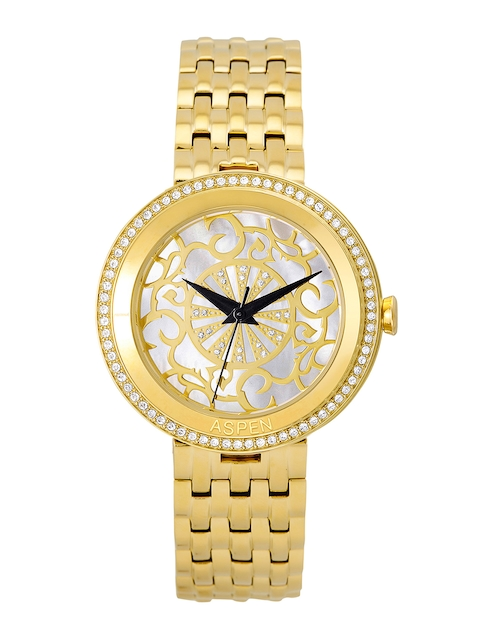 ASPEN Women Silver & Gold-Toned Dial Watch AP2016