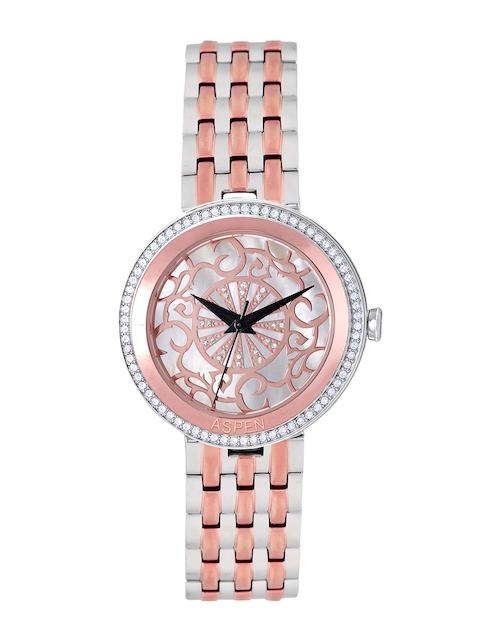 ASPEN Women Silver & Rose Gold-Toned Dial Watch AP2017