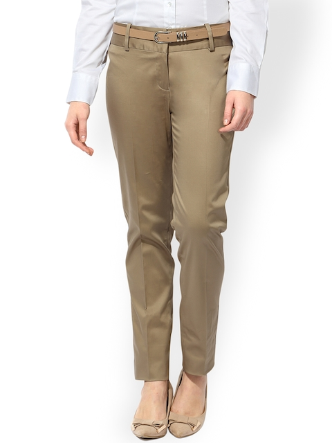 Van Heusen Woman Khaki Formal Trousers