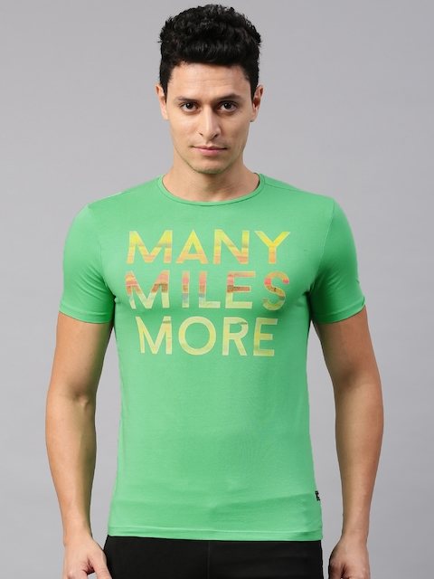 HRX by Hrithik Roshan Men Green Printed Round Neck T-shirt  available at myntra for Rs.239