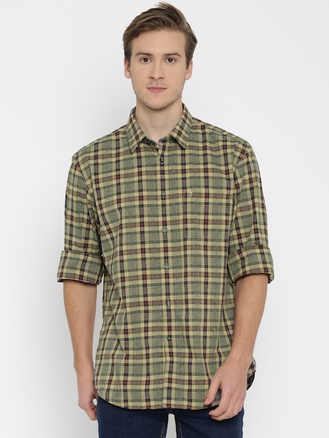 Indian Terrain Men Beige & Navy Slim Fit Checked Casual Shirt