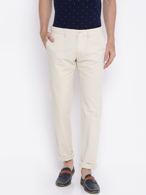 Indian Terrain Men Beige Solid Slim Fit Chino Trousers