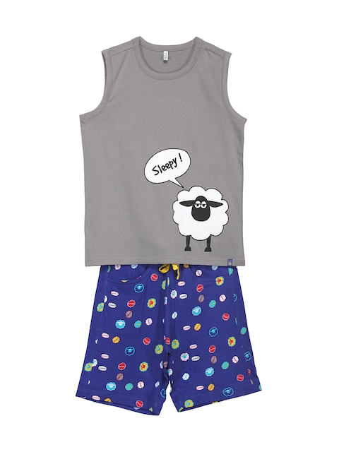 United Colors of Benetton Boys Grey & Navy Printed Lounge Set