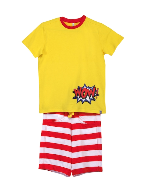 United Colors of Benetton Boys Yellow & Red Lounge Set