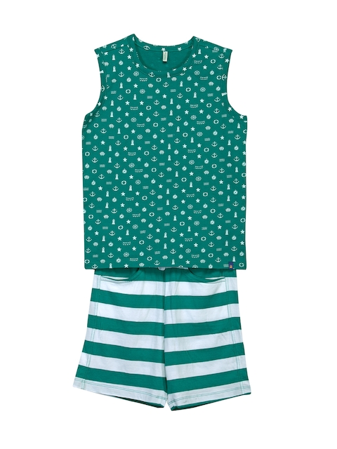 United Colors of Benetton Boys Green & White Printed Lounge Set