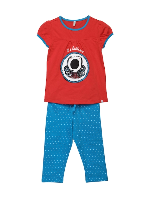 United Colors of Benetton Girls Red & Blue Lounge Set