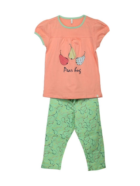 United Colors of Benetton Girls Pink & Green Lounge Set