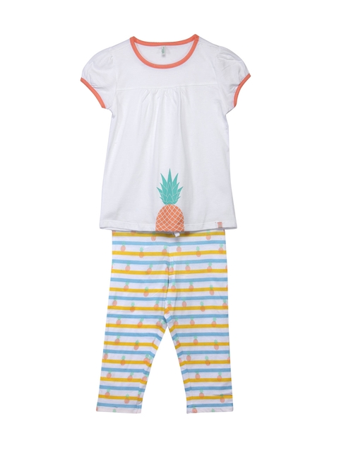 United Colors of Benetton Girls White & Yellow Lounge Set