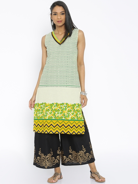 Soch Women Cream & Green Printed A-Line Kurta