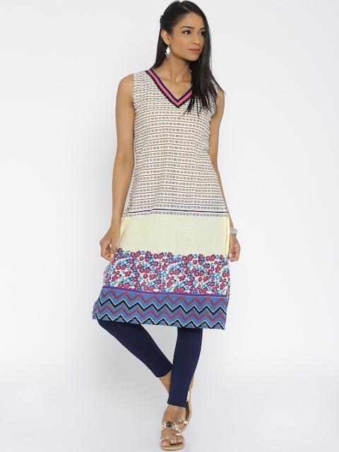 Soch Women Cream-Coloured Printed Kurta