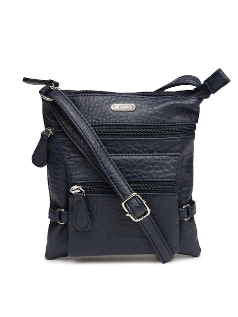 Lavie Navy Textured Sling Bag