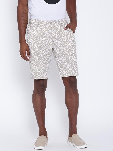 United Colors of Benetton Men Beige Printed Slim Shorts