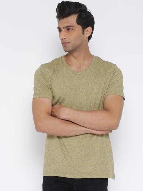 United Colors of Benetton Men Beige Solid V-Neck T-shirt