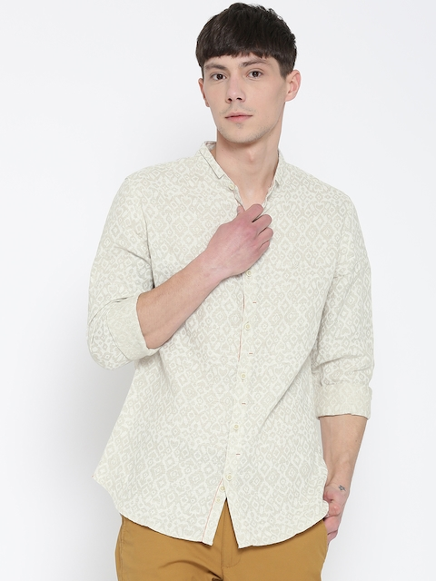 United Colors of Benetton Men Beige & Off-White Printed Casual Shirt