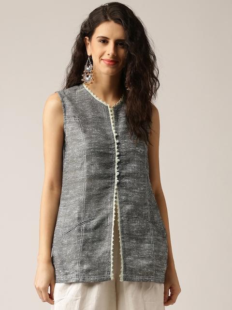IMARA by Shraddha Kapoor Women Grey Solid Tailored Jacket