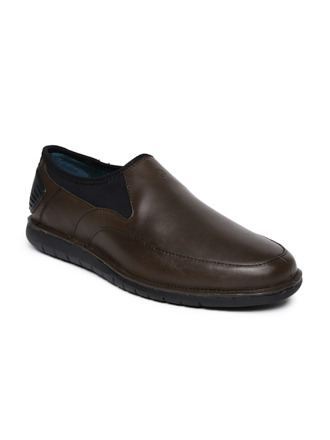 Hush Puppies Men Brown Adept Bolt Leather Semiformal Slip-Ons