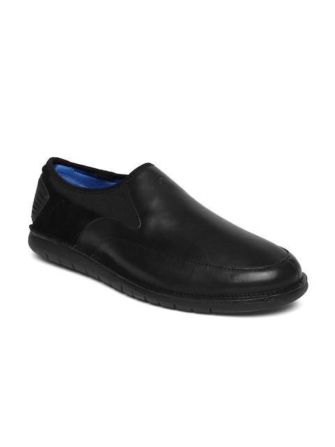 Hush Puppies Men Black Adept Bolt Leather Semiformal Slip-Ons